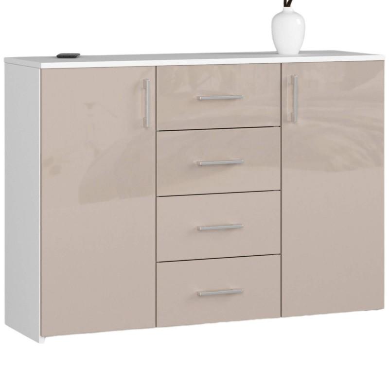Komoda do salonu 110 cm K45 - biała-cappuccino połysk