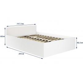 Łóżko CLP 140x200 ze stelażem i materacem białe