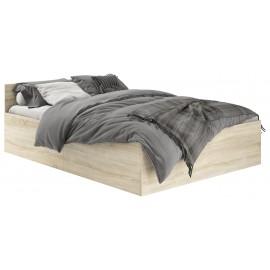 Dwuosobowe łóżko 140x200 CLP ze stelażem i materacem dąb sonoma