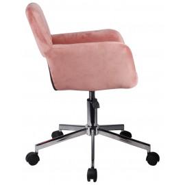 Fotel welurowy obrotowy FD-22 - Różowy