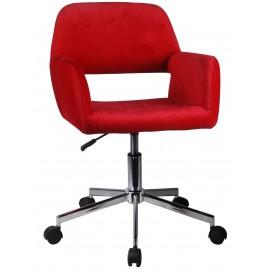 Fotel welurowy obrotowy FD-22 - Czerwony