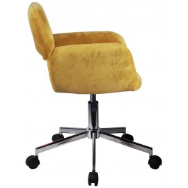 Fotel welurowy obrotowy FD-22 - Żółty