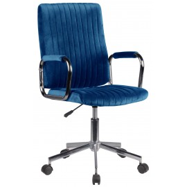 Krzesło welurowe obrotowe FD-24 - Granatowy