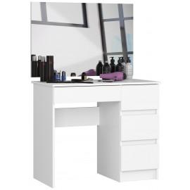 Toaletka kosmetyczna dla kobiet w kolorze białym z lustrem 900x600