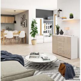 Komoda do salonu 110 cm K45 - biała-cappuccino połysk wizualizacja