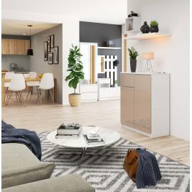 Komoda do salonu 80 cm - biała-cappuccino połysk - 2 drzwi 1 szuflada wizualizacja