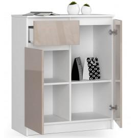 Komoda do salonu 80 cm - biała-cappuccino połysk - 2 drzwi 1 szuflada otwarta