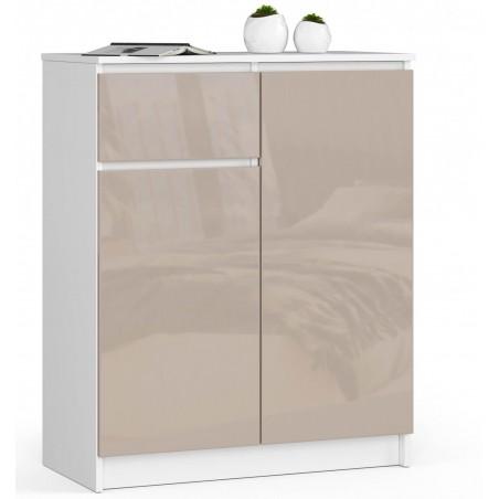 Komoda do salonu 80 cm - biała-cappuccino połysk - 2 drzwi 1 szuflada