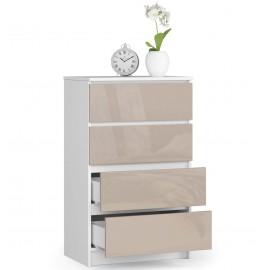 Komoda do salonu 60 cm - biała-cappuccino połysk - 4 szuflady otwarta