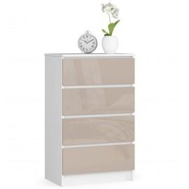 Komoda do salonu 60 cm - biała-cappuccino połysk - 4 szuflady