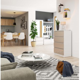 Komoda do salonu 60 cm - biała-cappuccino połysk - 4 szuflady wizualizacja