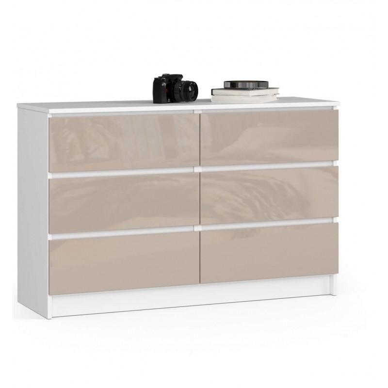 Komoda do salonu 120 cm - biała-cappuccino połysk - 6 szuflad