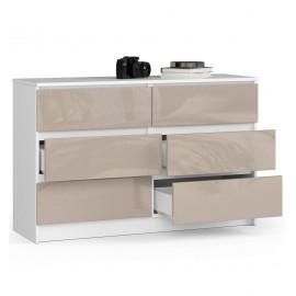 Komoda do salonu 120 cm - biała-cappuccino połysk - 6 szuflad otwarta