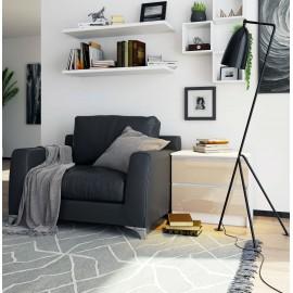 Komoda do salonu 60 cm - biała-cappuccino połysk - 2 szuflady wizualizacja