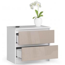 Komoda do salonu 60 cm - biała-cappuccino połysk - 2 szuflady otwarta