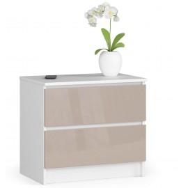 Komoda do salonu 60 cm - biała-cappuccino połysk - 2 szuflady