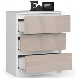 Komoda do salonu 60 cm - biała-cappuccino połysk - 3 szuflady otwarta