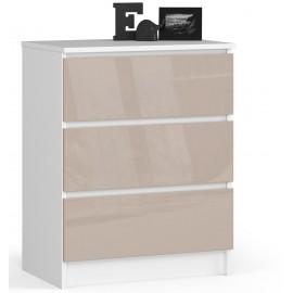 Komoda do salonu 60 cm - biała-cappuccino połysk - 3 szuflady