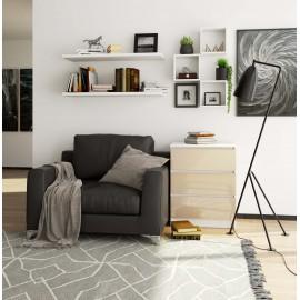 Komoda do salonu 60 cm - biała-cappuccino połysk - 3 szuflady wizualizacja
