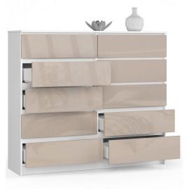 Komoda do salonu 138 cm - biała-cappuccino połysk - 10 szuflad otwarta