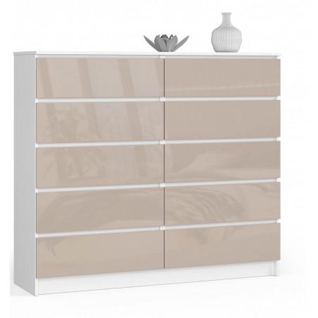 Komoda do salonu 138 cm - biała-cappuccino połysk - 10 szuflad