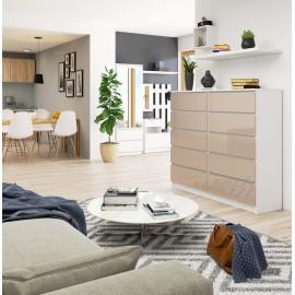 Komoda do salonu 138 cm - biała-cappuccino połysk - 10 szuflad wizualizacja