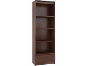 Regały biurowe - otwarte, z półkami i szufladami - białe, wenge